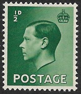 SG457 ½d Green Unmounted Mint (1936 Edward VIII Stamps)